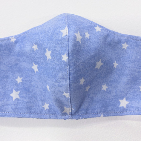 #18 Fitted mask, light blue with stars
