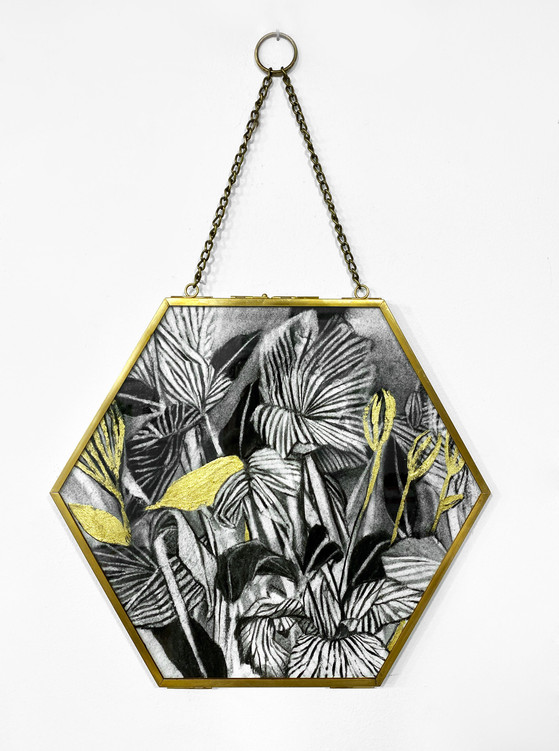 Charcoal and 22K Gold Leaf on paper, hexagonal frame