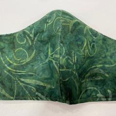 #8 Green Batik Fitted Mask