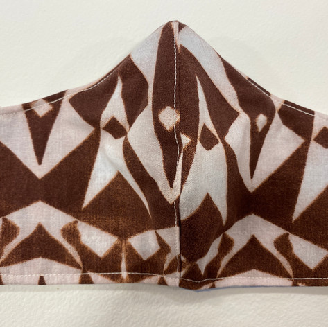 #15 Brown and white geo fitted mask
