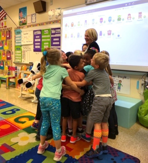 Barbara with students at Southside Elementary 2019