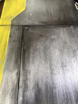 Faux metal panel paint job