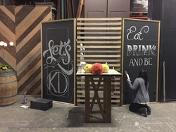4x8 Chalkboards with art & slat walls