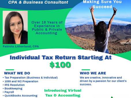 Individual Tax Return Starting @ $100