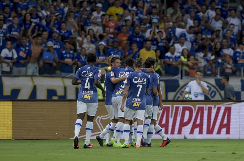 Comemoração dos jogadores do Cruzeiro