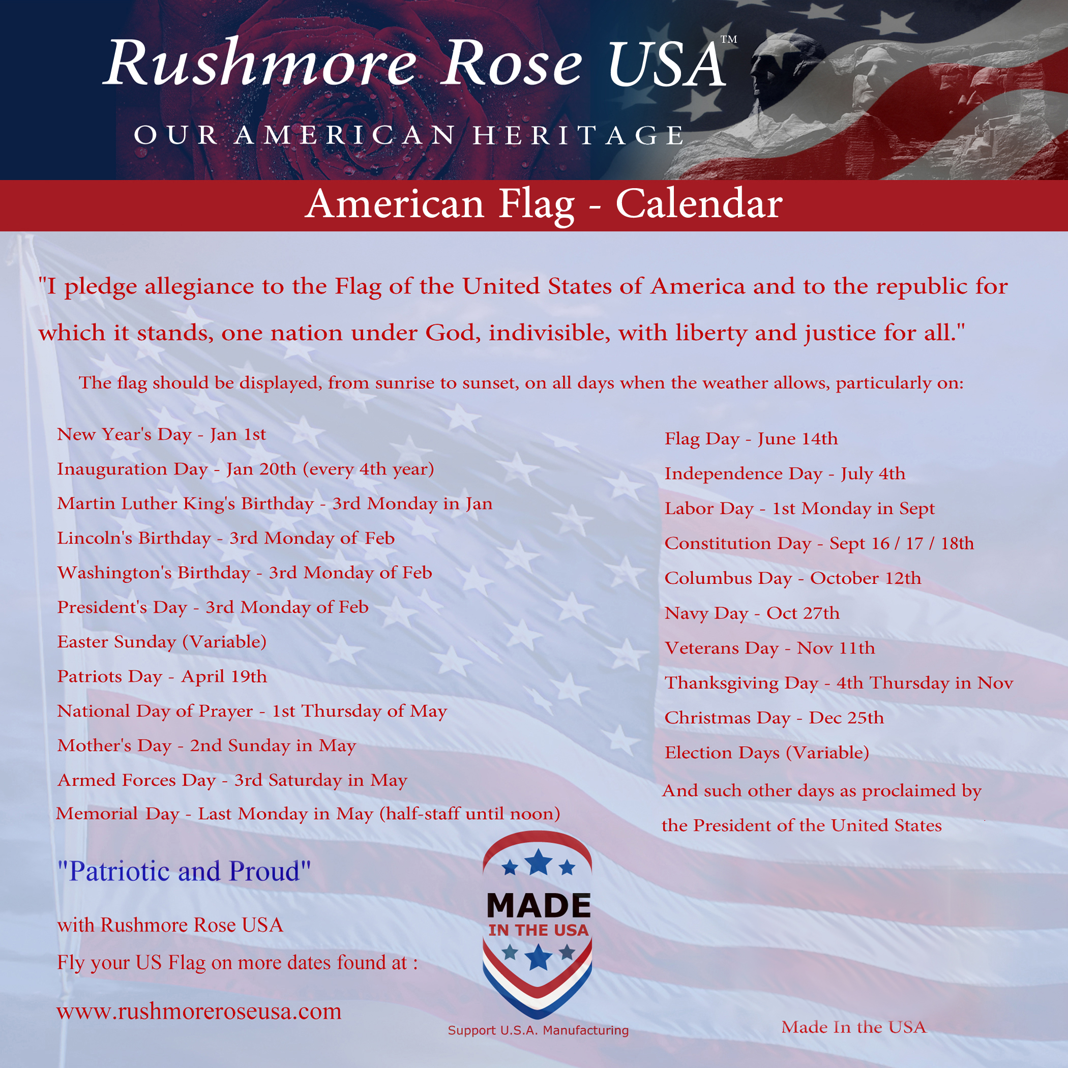 69903025136 3 x5  American Flags by Rushmore Rose USA - Nylon