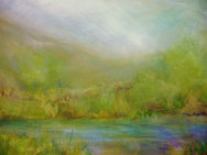 """Green River Bed (sold)  Acrylic on canvas H30"""" W40"""" /   H 76.2 cm / W 101.6 cm"""