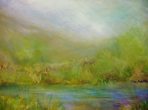 "Green River Bed (sold)  Acrylic on canvas H30"" W40"" /   H 76.2 cm / W 101.6 cm"