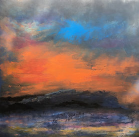 Orange Mist Black Land (sold) Oil and Acrylic Canvas