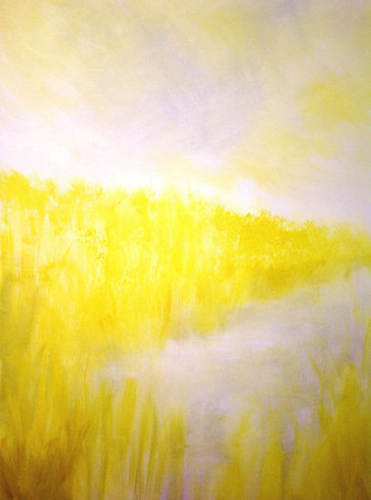 """Yellow reeds 1 (sold) Acrylic on canvas H 40"""" W 30"""" / H 101.6 cm W 76.2cm"""