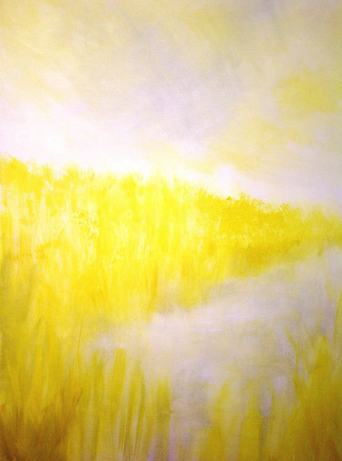 "Yellow reeds 1 (sold) Acrylic on canvas H 40"" W 30"" / H 101.6 cm W 76.2cm"