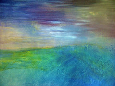 """Peacock Hill (sold) Acrylic on canvas H30"""" W 40"""" /   H 76.2 cm /W 101.6 cm"""