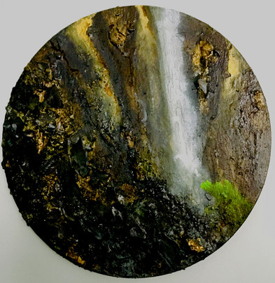 Down Fall  £350 3d mixed media on circular board 30 cm