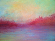 "Red Lake (sold) Acrylic on canvas H30"" W40"" /   H 76.2 cm / W 101.6 cm"