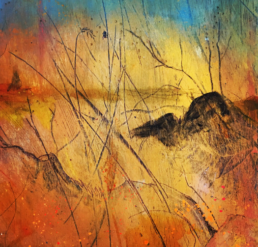 """Absent Minds – Fire Bug 1 of 3 Acrylic on board  Each - H17.5"""" W17.5""""/H44 cm W44 cm 1of 3 sold together £600"""