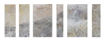 """Segmented Land (sold) Acrylic on wood x6 separate pannels  over all size H 10"""" W 30""""/ H 25.5 cm W 76.2cm"""
