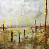 Stick In The Mud (sold) Acrylic and mixed media on board.