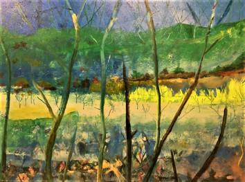 """Through & Through Acrylic on canvas H43"""" W33""""/H109.22cm W83.82 cm £500"""