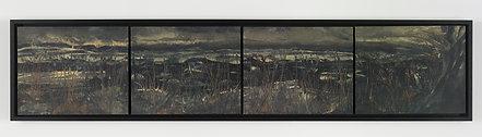 "Black Tar Moor X4 wooden pannels framed (sold) H 30"" W 40"" /   H 76.2 cm / W 101.6 cm"