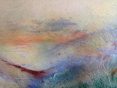 "Dunes (sold) Acrylic on canvas H 16"" W 20"" / H 41 cm W50 cm"