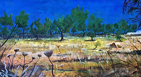 "Campo Esmeraldas (sold)  H 42""  W 66""  H107cm W167cm Acrylic on canvas Specially Commissioned"