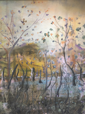 """Autumn Leaves That Stud the Sky's Acrylic on canvas H43"""" W33""""/H109.22.cm W83.82 cm £500"""