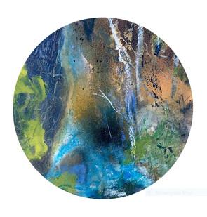 Ash Fallen £200 Acrylic on circual board, Unframed   Mounted, H 31cm -W 31cm