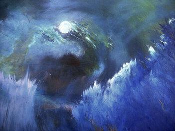 "Summer Moon (sold) Acrylic on canvas H30"" W40"" /   H 76.2 cm / W 101.6 cm"