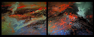 "Eruption of Eyjaf-jalla-jokull (sold) Diptych, Acrylic & mixed medai on canvas x2 - H 16"" W 20"" / H 41 cm W50 cm"
