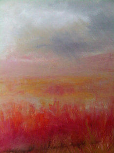 "Fire Field 1 (sold)  Acrylic on canvas H 40"" W 30"" / H 101.6 cm W 76.2cm"