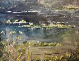 """Still Pool (sold) Acrylic on canvas  H 40"""" W 30"""" / H 101.6 cm W 76.2cm"""
