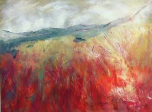 "Across the Fire Field Acrylic on canvas H30"" W40""/H76.2cm W101.6 cm £500"