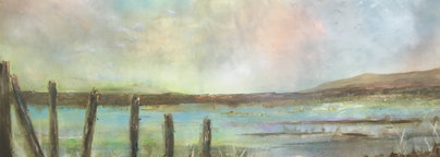 """Tides Out (sold)   H 48"""" W144"""" H 122cm W 367cm Acrylic on canvas Specially Commissioned"""