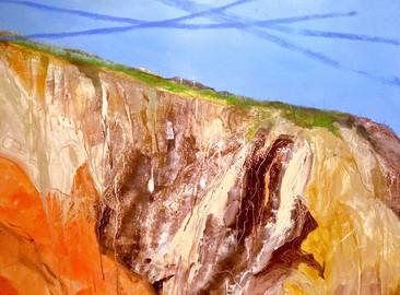 """Land Fall Acrylic on canvas H33"""" W43""""/H83.82 W109.22cm £"""