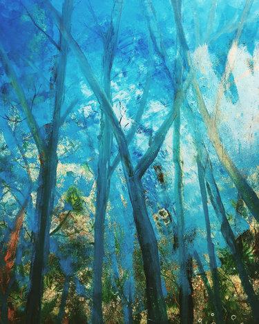 "Blue Dappled Light (sold) Acrylic on canvas  H 40"" W 30"" / H 101.6 cm W 76.2cm"