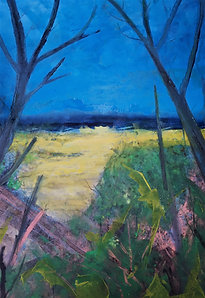 Two Trees One Beach (sold)  Acrylic on canvas