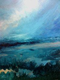 """Petrol Shore (sold) Acrylic on canvas  H 40"""" W 30"""" / H 101.6 cm W 76.2cm"""
