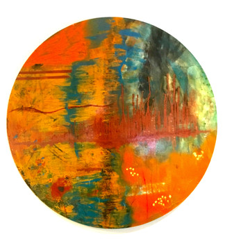 Reflection on What is to Come  £500 Acrylic and mixed media on circular board (Unframed)  89cm