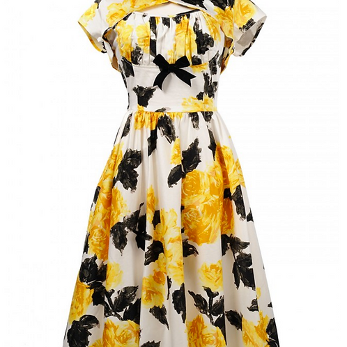 NEW - Evelyn Dress - Yellow/Black Floral - size M