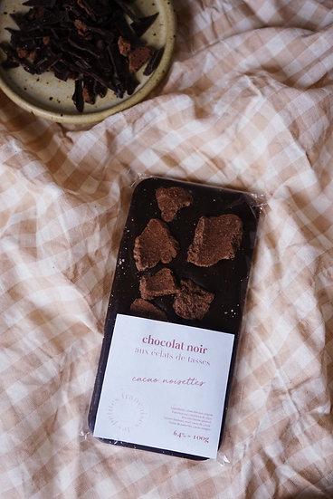 Dark Chocolate Bar with Cacao Cups | Hazelnut