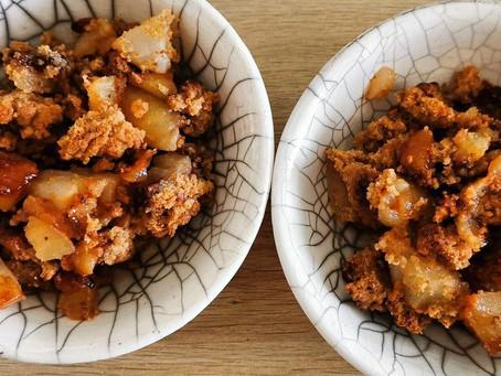 Recette facile de Crumble aux poires et aux pommes à la poudre de tasses LPF