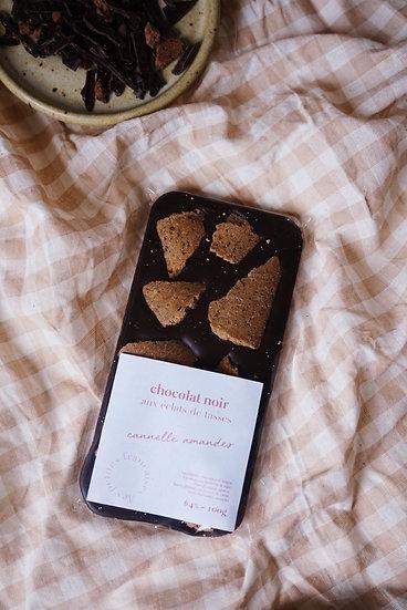 Tablette de Chocolat noir aux Éclats de tasses Cannelle | Amandes