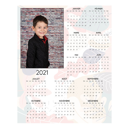 """PP - Calendrier fond """"feuillage"""""""