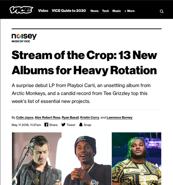 Vice's Noisey: Stream of the Crop: 13 New Albums for Heavy Rotation