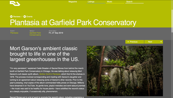 Resident Advisor: Plantasia at Garfield Park Conservatory