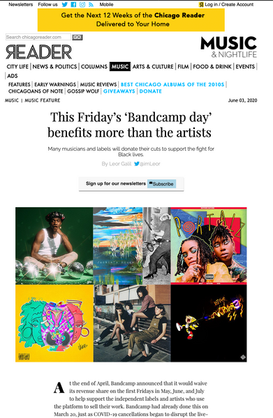 The Chicago Reader: This Friday's 'Bandcamp day' benefits more than the artists