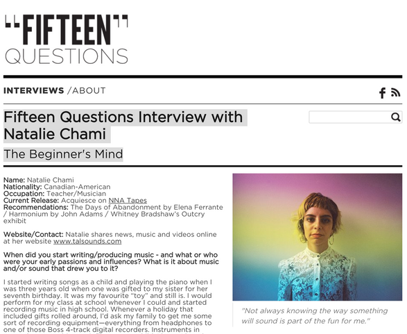 Fifteen Questions: Interview with Natalie Chami - The Beginner's Mind