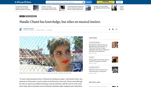 Chicago Tribune: Natalie Chami has knowledge, but relies on musical instinct