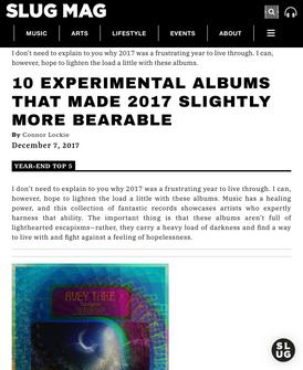 SLUG Mag: 10 EXPERIMENTAL ALBUMS THAT MADE 2017 SLIGHTLY MORE BEARABLE