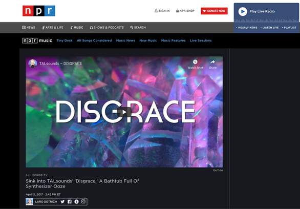 NPR - All Songs TV: Sink Into TALsounds' 'Disgrace,' A Bathtub Full Of Synthesizer Ooze